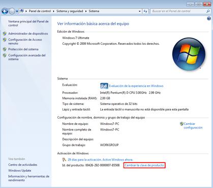 Captura de la sección sistema del panel de control de Windows 7, para poder activar Windows 7 ultimate en nuestro PC.
