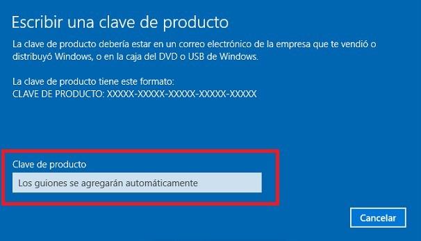 Ventana para introducir la clave del producto del sistema operativo Windows 10 pro