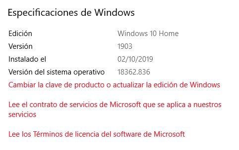 Especificaciones de Windows 10 con datos como la edición y versión del sistema operativo